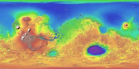 Topography of Mars, from the instrument MOLA. Borealis Basin is the large blue region in the north. © USGS