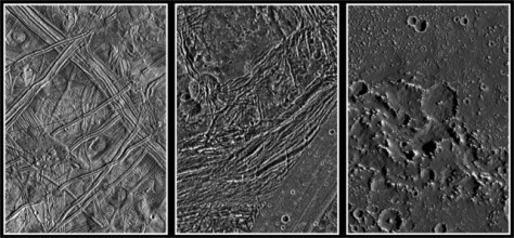 The surfaces of the Galilean satellites of Jupiter Europa (left), Ganymede (middle), and Callisto (right), seen by Galileo. © NASA
