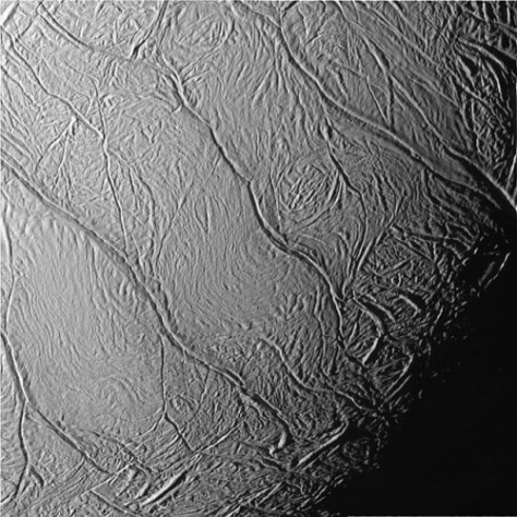 The tiger stripes at the South Pole of Enceladus. © NASA