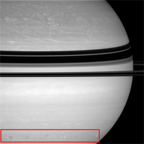 Features related to the Storm F. The rectangle focuses on the so-called Storm Alley. This image was taken by Cassini ISS on 23 April 2008. © NASA