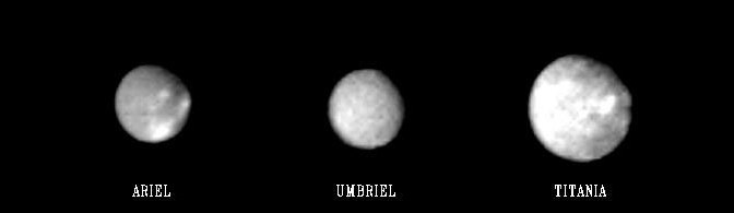 The main satellites of Uranus seen by Voyager 2 in 1986. © NASA