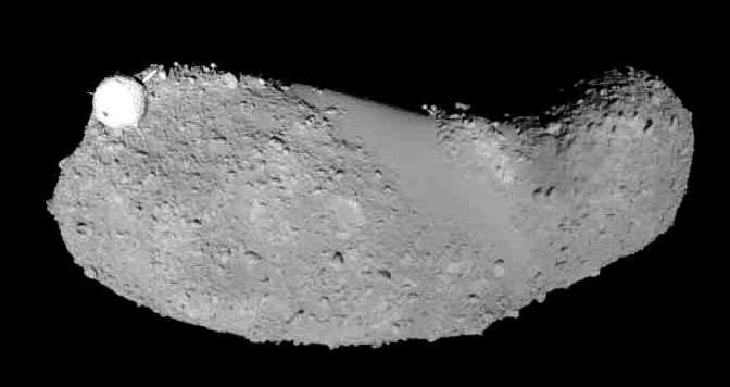 The asteroid Itokawa seen by Hayabusa. © JAXA