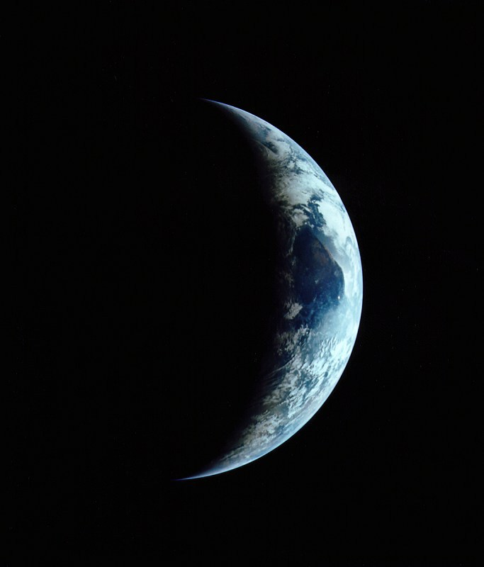 Apollo 11 view of a crescent Earth