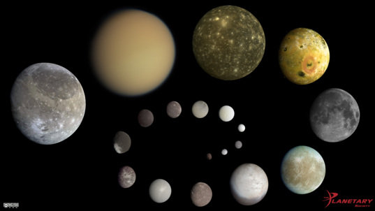 Scale comparisons of the solar systems major moons The