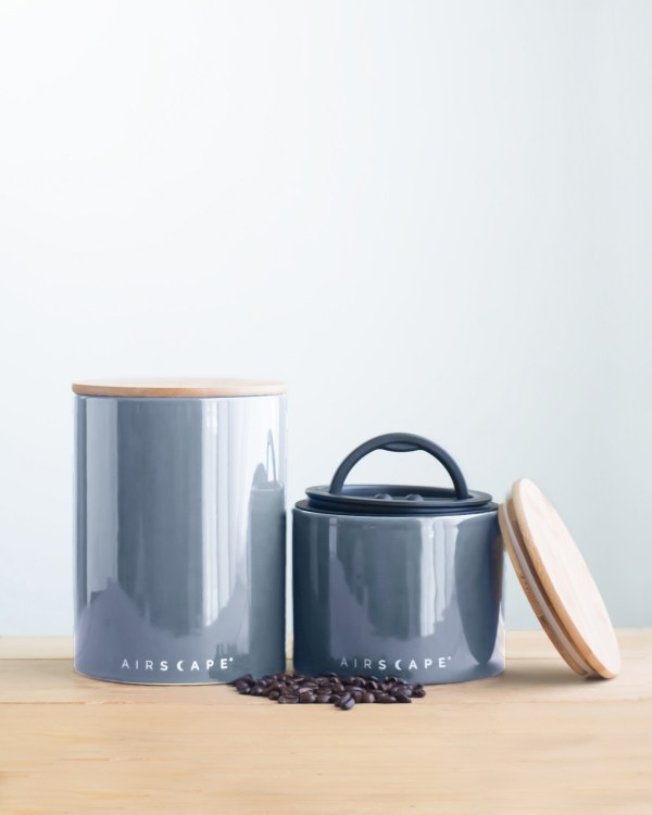 Photo of a large and small gray airscape coffee canister set.