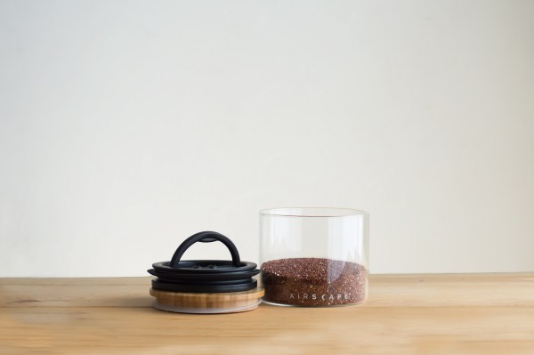 Photo of small Airscape seal glass food storage kitchen canister on counter