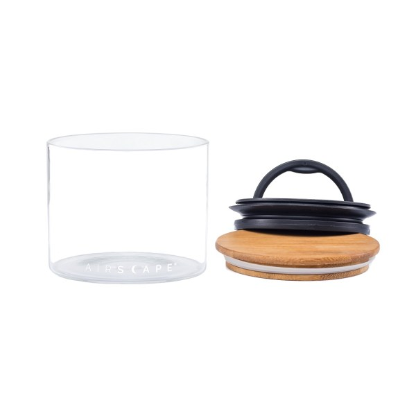 Photo of empty, small Airscape seal glass kitchen canister with bamboo lid