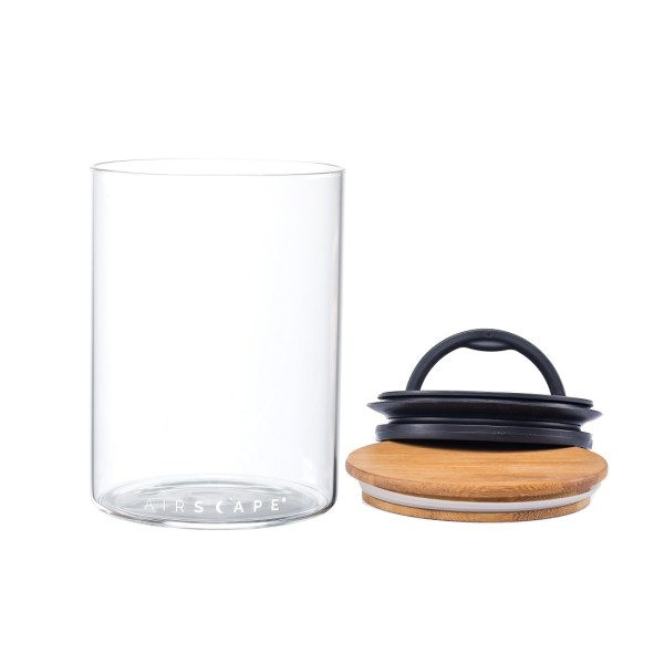 Photo of empty Airscape seal glass kitchen canister with bamboo lid