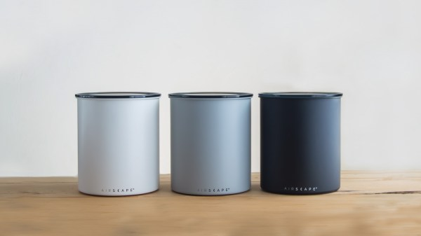 Set of three Airscape Kilo (large) coffee canisters on counter