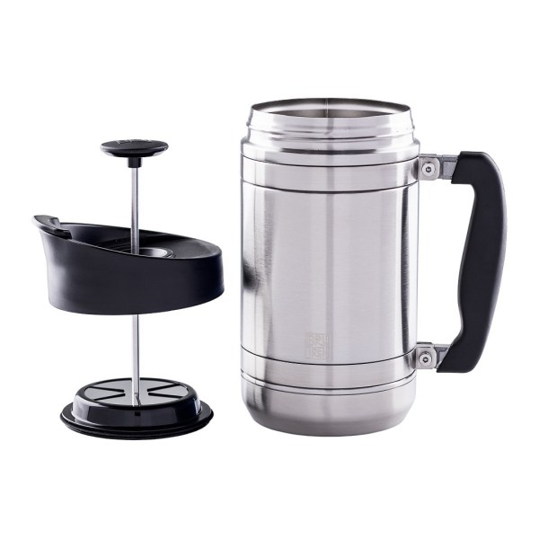 Photo of 32oz, brushed Steel French press with press on the left side