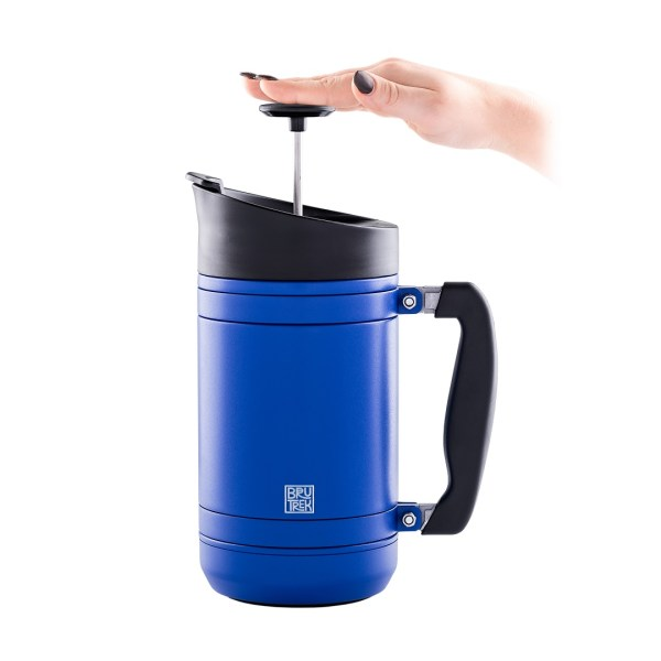Photo of 32 oz, Mountain Lake blue BruTrek insulated French press with hand on plunger