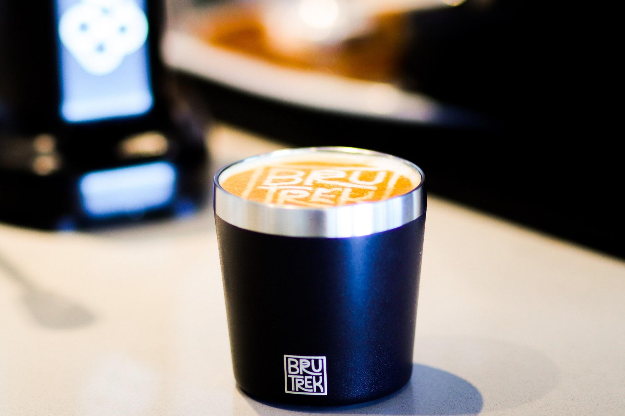 Photo of black BruTrek Camp Cup with Latte inside