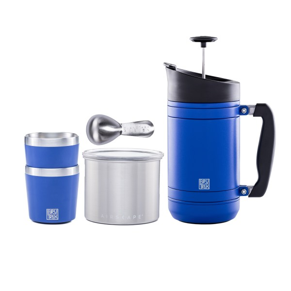 Photo of Camp Coffee Kit, including 32oz. French Press, small steel Airscape, Two Camp Cups and a coffee scoop in your color choices
