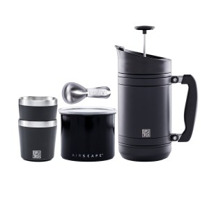 Photo of Camp Coffee Kit, including 32oz. Black French Press, small black steel Airscape, Two black Camp Cups and a coffee scoop