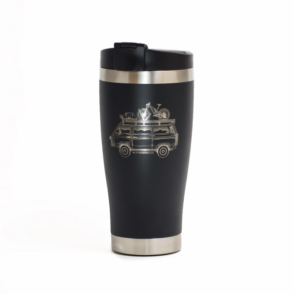 Photo of black insulated beverage Tumbler with a Westfalia camper van engraved on it