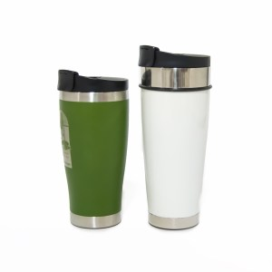 Photo of a medium sized green tumbler with a larger white tumbler to the right.
