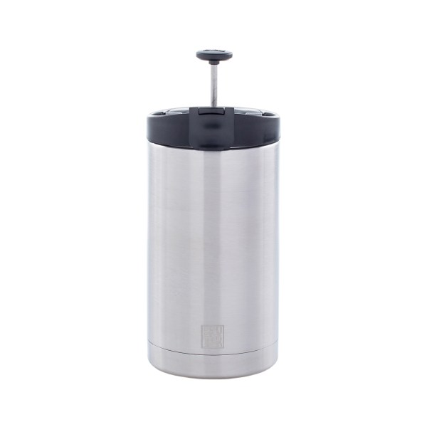 Photo of a brushed steel coffee press with it's plunger up with a white background.