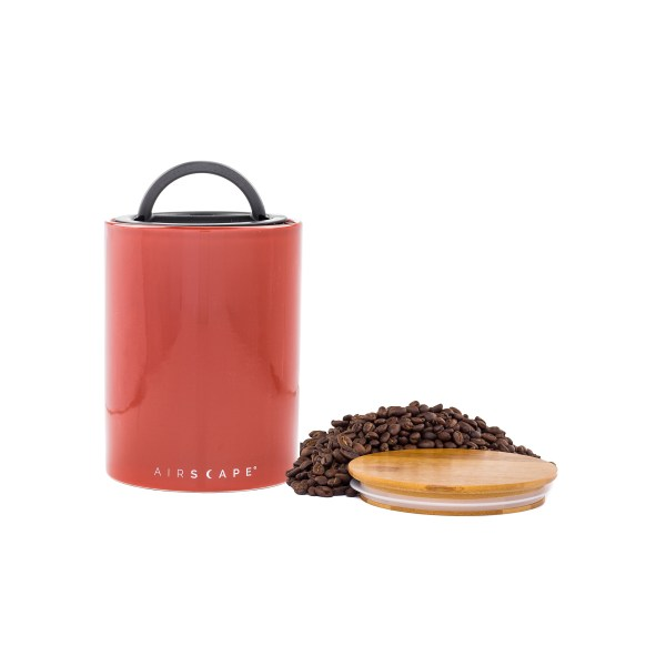 Photo of medium Red Rock color Ceramic Airscape with bamboo lid on the side with coffee beans