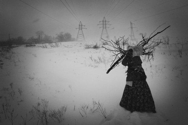 © Vitaliy Popkov Wizerunek kobiety niosącej paczkę chrustu naopał  wponury śnieżny poranek.