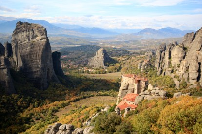 The Rousanou and St. Nicholas Anapausas monasteries from an overlook on the highway, reached by a car for lazy people or a brutal climb by masochists. Note: I am a masochist.