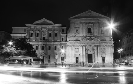 Rome night black white cathedral