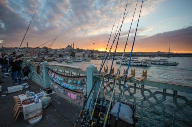 Galata Bridge at Sunset fishing poles