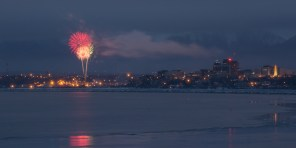 Downtown Anchorage and the Fur Rondy fireworks.