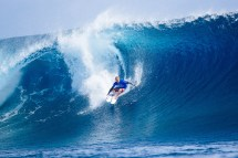 Stu Kennedy of Australia advanced into Round Three in Heat 9 of Round Two at the Outerknown Fiji Pro at Cloudbreak, Fiji.