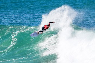 Rookie Connor O'Leary of Australia advances to Round Three of the Corona Open J-Bay after defeating Miguel Pupo of Brazil in Heat 6 of Round Two in pumping Supertubes, Jeffreys Bay, South Africa.