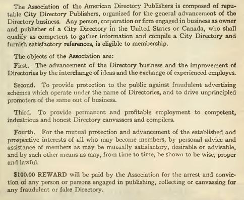 American directory publishers objects