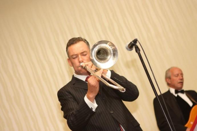Brian Kelly Playing Trombone