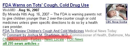 Google News comments - FDA warnings on cold medicines