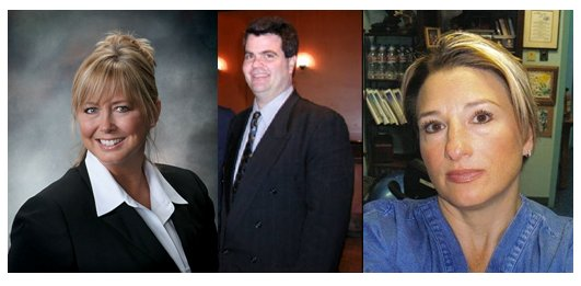 From left to right: Dr. Rena Sawyers '94, Dr. Scott Garber '02, and Dr. Kayce Frye '90