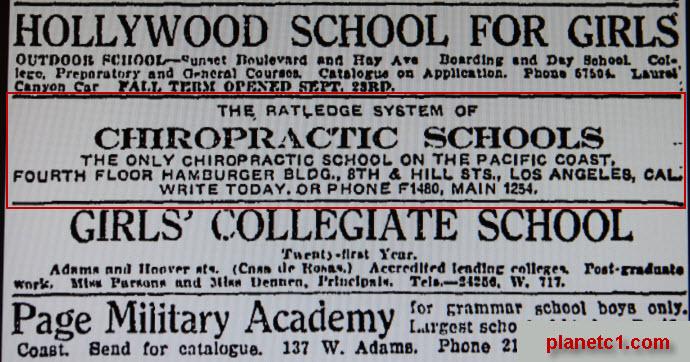 Ratledge Chiropractic Schools 1912