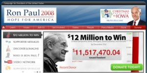 Ron Paul Website screenshot 12 million