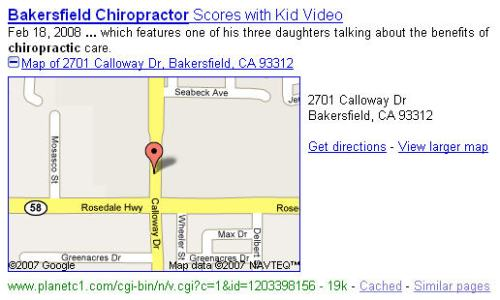 displaying map for Bakersfield chiropractor
