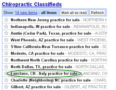 chiropractic classifieds practices for sale Italy