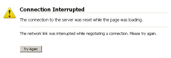 connection interrupted - server fail while trying to visit website