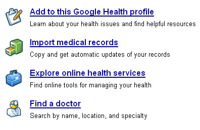 screenshot of Google Health profile