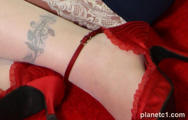 lower leg tattoo flowers