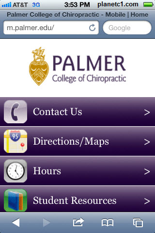 palmer chiropractic mobile website