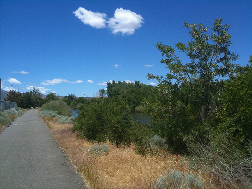 paved path along truckee river