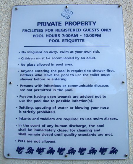 Private Property Pool Etiquette