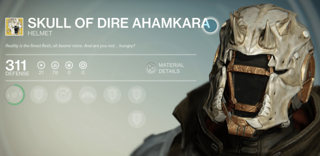 skull of dire ahamkara exotic review