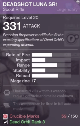 deadshot luna sr1 dead orbit