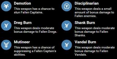 fallen weapon perks