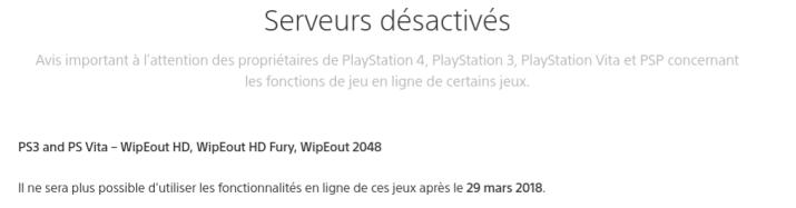 WipEout 2048 fermeture serveurs en ligne