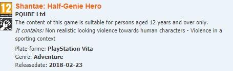 Shantae Half Genie Hero sur PS Vita chez PQube ?