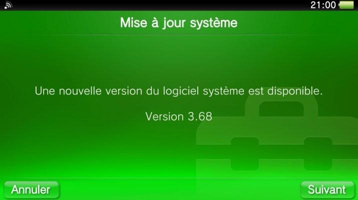 Mise à jour firmware update PS Vita 3.68