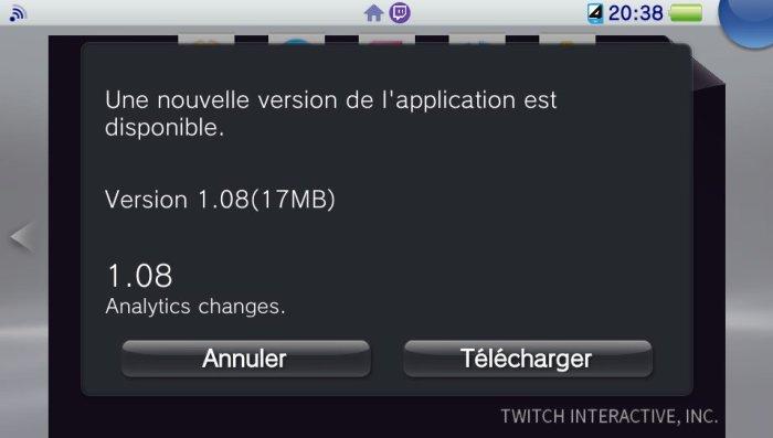 Mise à jour 1.08 de Twitch sur PS Vita
